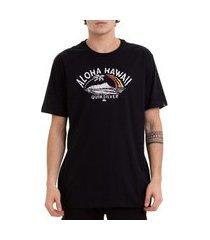 camiseta quiksilver king aloha masculina preto/laranja