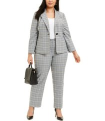 le suit plus size plaid notch-collar pantsuit