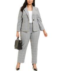 le suit plus size plaid notch-collar pantsuit