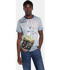 basic cotton t-shirt cuba - blue - xl