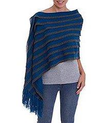 100% baby alpaca shawl, 'azure royalty' (peru)