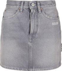 off-white grey denim mini skirt