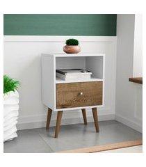 mesa de cabeceira móveis bechara mb2014 branca e madeira rústica