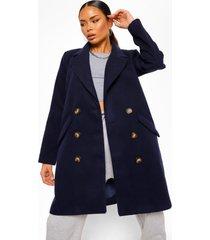 getailleerde nepwollen jas met dubbele knopen, navy