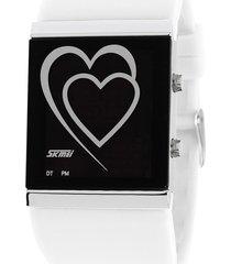 reloj con forma de corazón para hombres y mujeres-blanco