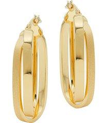 saks fifth avenue women's 14k yellow gold double rectangle hoop earrings