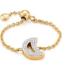 gold alphabet moon adjustable friendship diamond ring diamond