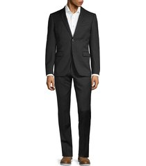 john varvatos star u.s.a. men's regular-fit wool blend suit - black - size 40 l