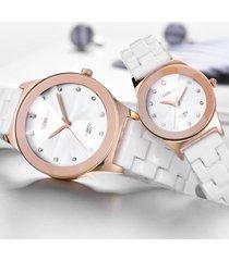 casual orologio al quarzo unisex wrsit orologio da uomo impermeabile in ceramica con diamante ceramico bianco