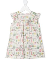 bonpoint all-over print dress - white