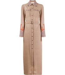 chloé windowpane-print long shirt dress - brown
