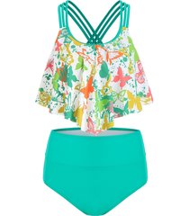 butterfly print strappy flounce overlay tankini swimsuit