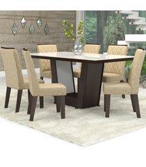 mesa de jantar 6 lugares condessa nogueira/gold/branco - viero móveis