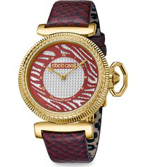 champagne dial animal print leather strap watch