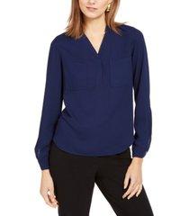 nine west two-pocket v-neck blouse