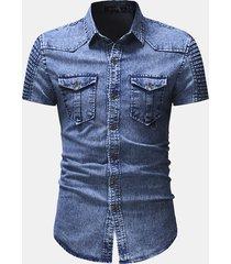camicie da uomo in metallo a manica corta con piega a bottone e bottoni in metallo con due tasche