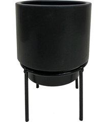 cachepot de cerã¢mica preto com suporte de metal - incolor - dafiti