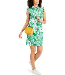 charter club printed ruffled shift dress, created for macy's