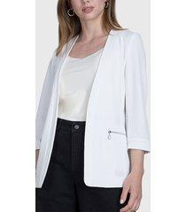 blazer ash con cierre metálicos decorativos blanco - calce regular