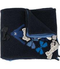 familiar crocheted bow-tie scarf - blue