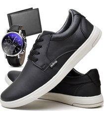 tãªnis sapatãªnis casual fashion com carteira e relã³gio masculino dubuy 1401el preto - preto - masculino - sintã©tico - dafiti