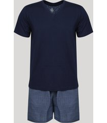 pijama masculino lupo manga curta gola v azul marinho