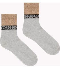 gucci silver and gold lamé socks