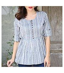 cotton blouse, 'dancing bubbles in grey' (india)
