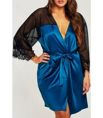 icollection plus size elegant ultra soft sain lace robe with mesh panels