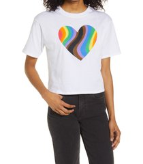 men's bp. be proud by bp. gender inclusive rainbow heart graphic tee, size x-large - white