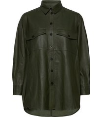 agnes thin leather shirt overshirts groen mdk / munderingskompagniet