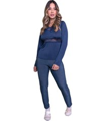 pijama longo nj.mix blusa e calça frio azul marinho