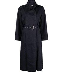 isabel marant étoile long belted trench coat - black