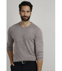 suéter masculino em tricô gola careca kaki