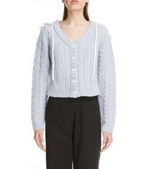women's cecilie bahnsen embroidered cape cable cardigan