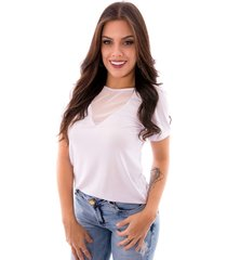 blusa up side wear decote transparente branca