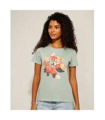 """camiseta de algodão suco de fruta"""" manga curta decote redondo verde claro"""""""