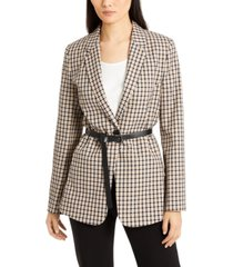 elie tahari plaid belted jacket