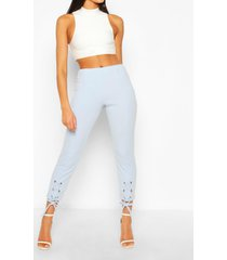 broek met vetersluiting, pastelblauw