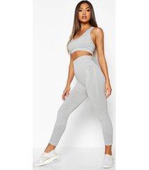 naadloze hot legging met ondersteunende tailleband, grijs