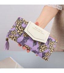 billetera mujeres- cremallera de la borla de la-púrpura