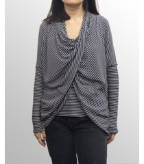 coin 1804 womens rayon blend stripe twist back convertible cardigan
