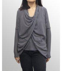coin 1804 womens rayon blend stripe twist back convertible cardigan