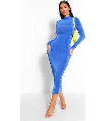 bodycon midaxi jurk met hoge kraag, kobalt