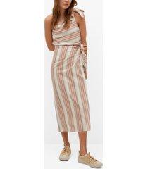 mango striped wrap skirt
