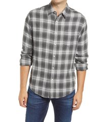 rails lennox regular fit plaid button-up shirt, size x-large in charcoal/heather grey/cream at nordstrom