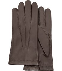forzieri designer men's gloves, men's cashmere lined dark brown italian leather gloves