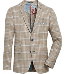 paisley & gray slim fit suit separates coat tan & teal plaid