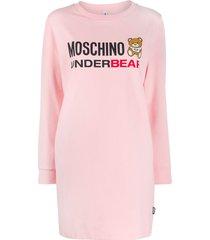 moschino underbear logo sweater dress - pink