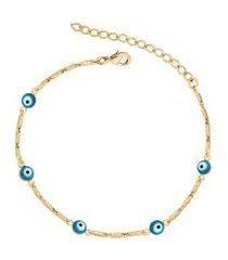 pulseira canutilhos olho grego banhado a ouro 18k